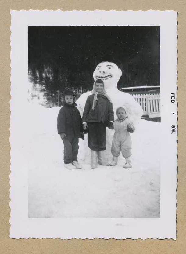 The Hamma kids with their snowman, 1956.